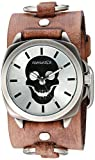 Nemesis 'Skull Head Series' Quartz Stainless Steel and Leather  Watch, Color:Brown (Model: BFRB935S)
