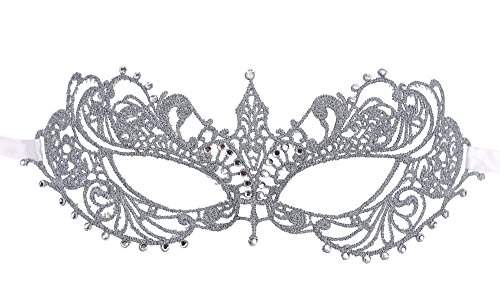AshopZ Women's Goddess Venetian Masquerade Lace Eye Mask, Silver with Rhinestone