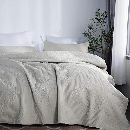 - jinchan Bedspread Coverlet Set Comforter Embossed Medallion Damask Lightweight Microfiber Year Round Quilt Set Bedding, Queen Size, Taupe