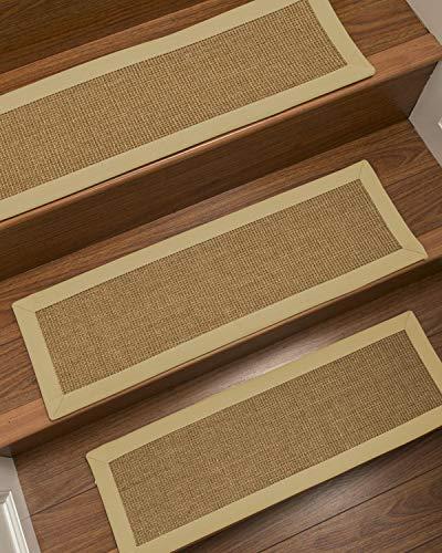 - NaturalAreaRugs 100% Natural Fiber Moda, Sisal Light Brown, Handmade Custom Stair Treads Carpet Set of 13 (9