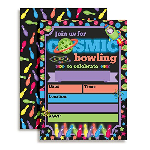 Cosmic Bowling Birthday Party Invitations for Out of This World Glow in the Dark Bowling Parties, 20 5