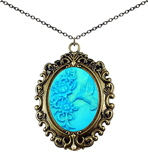 Yspace Antique Brass Necklace Cameo Vintage Lace Big Pendant Jewelry Deluxe Pouch Gift (Carving Hummingbird)