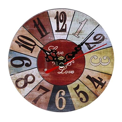 - Vintage Wooden Round Square Wall Clock Large Shabby Chic Rustic Kitchen Home Antique Living Room Decorations