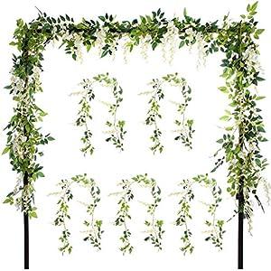 Meiliy 5pcs Artificial Flower Silk Wisteria Flower Garland Ivy Vine Green Leaf Hanging Vine for Wedding Party Home Garden Wall Decoration, White 77
