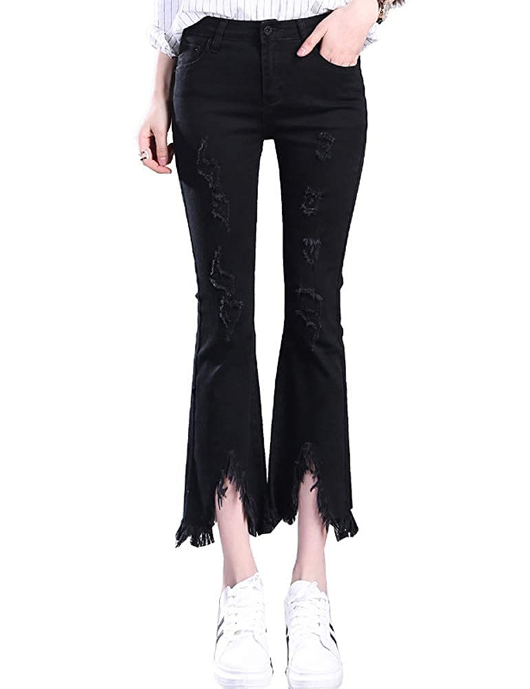 IDEALSANXUN Women/'s Flared Jeans Bell-Bottom Ninth Ripped Slim Denim Pant