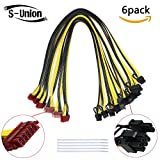 S-Union [6PCs] 16AWG PCI-E 12Pin to Dual 6+2pin Cable. Power Supply Cable for Seasonic X & P Series. GPU/PSU Ethereum ETH Mining Power Supply Cable (Length: 23.6Inch,with 5 Nylon Cable Ties)