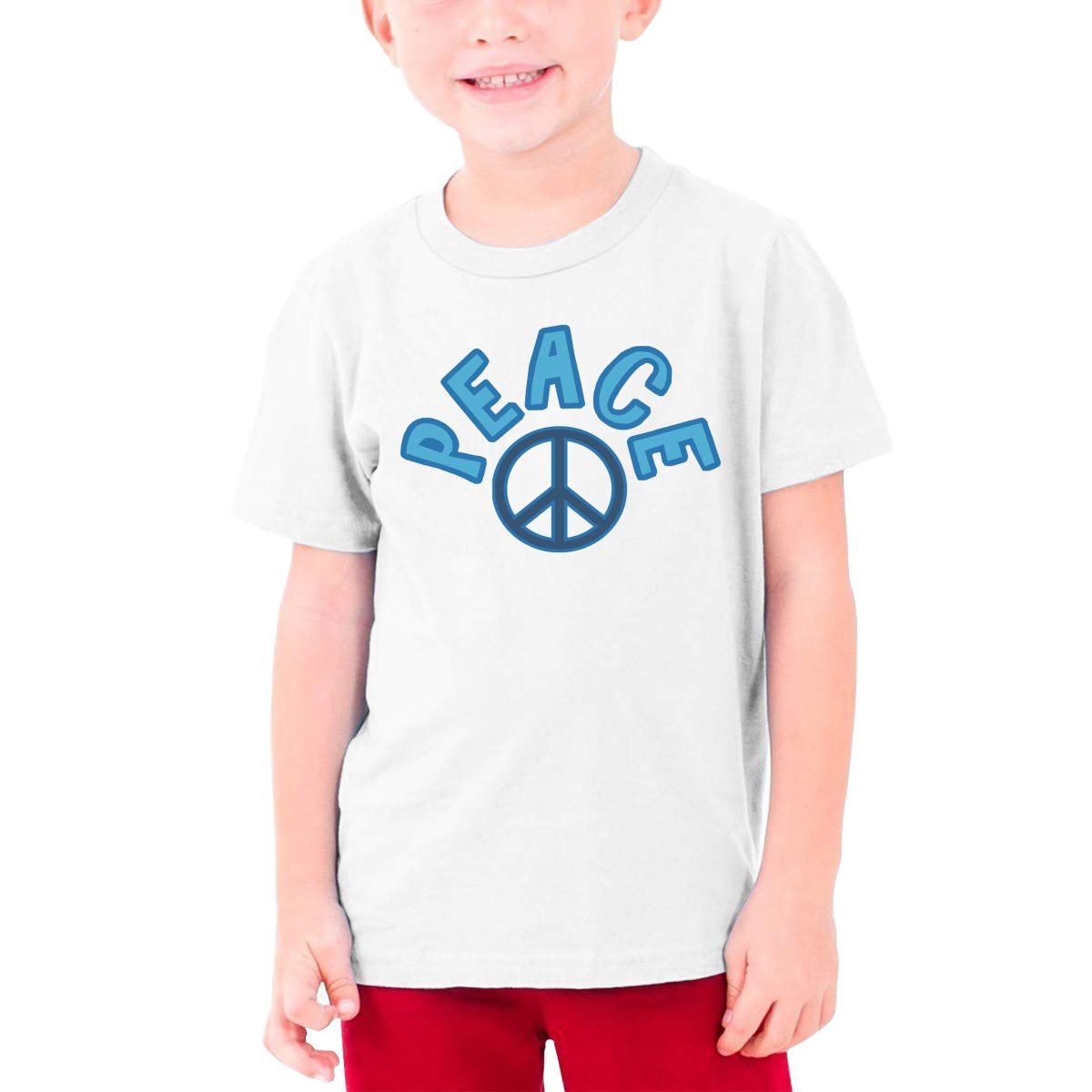Youth Graphic Tshirts Teenage Boys Girls Short Sleeve T-Shirt World Peace Sign Printed Round Collar T Shirt Tees Tops