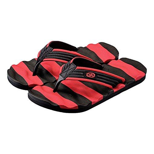 QPLUS Q-Plus-Mens Casual Flip-Flops Thong Beach Slipper Outdoor & Indoor Sandal Red