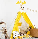 HAN-MM Kids Teepee Tent Set With Mat - 4 Wooden Poles Indian Playhouse for Children for Indoor or Outdoor Play. Durable Cotton Canvas Fabric.No Trouble to Choose Another Mat.Yellow Splice
