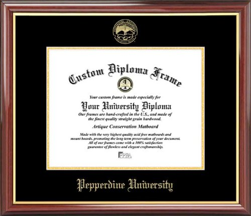 (Laminated Visuals Pepperdine University Waves - Embossed Seal - Mahogany Gold Trim - Diploma Frame)