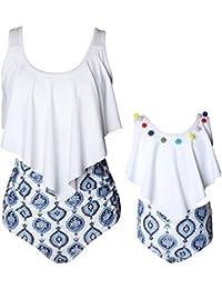 Matching Girls Swimsuit Ruffle Women Swimwear Toddler Children Bikini Bathing Suit Beachwear Sets Size 2-3 Years