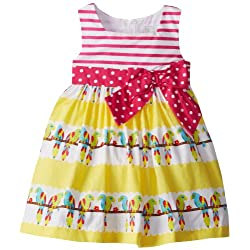 Rare Editions Little Girls' Stripe Bodice-To-Print Woven Dress
