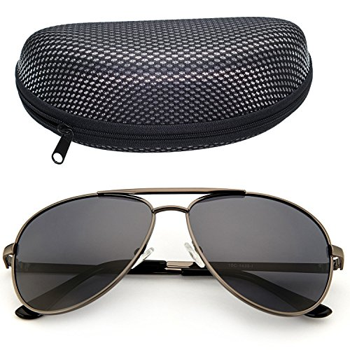 Aviator Sunglasses Polarized for Men by LotFancy, Gray Lens, Gun Metal Frame, Sunglass Case Included, UV400 (Gunmetal Polarized Shades)