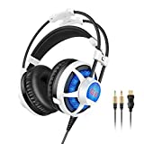 Honstek G6 Wired PC Gaming Headset with Foldable Microphone, Volume Control, USB and 3.5mm Stereo Surround with LED Lighting for PC/PS3/PS4/Xbox One/Xbox 360/Phone/Mac/Laptop (Black-white)