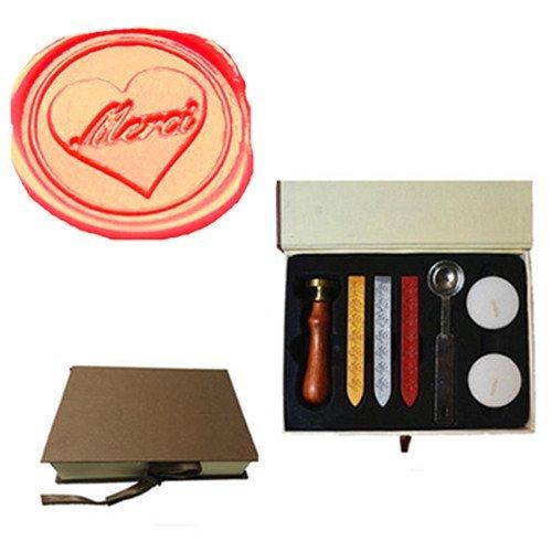 MDLG Vintage MERCI In Heart Custom Picture Logo Wedding Invitation Wax Seal Sealing Stamp Sticks Spoon Gift Box Set Kit