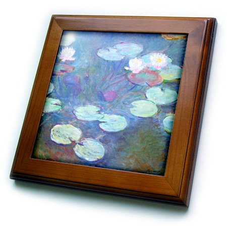 3dRose ft_203692_1 Print of Monet Painting Water Lilies Pink Framed Tile, 8 by 8