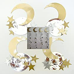 Crescent and Star Gold Silver Ramadan Eid Decorations Swirl Islamic Party Celebration