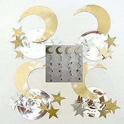 Crescent and Star Gold Silver Ramadan Eid Decorations Swirl Islamic Party Celebration