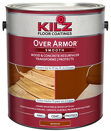 KILZ Over Armor Smooth Wood/Concrete Coating, 1 gallon, - Wood Stain Epoxy