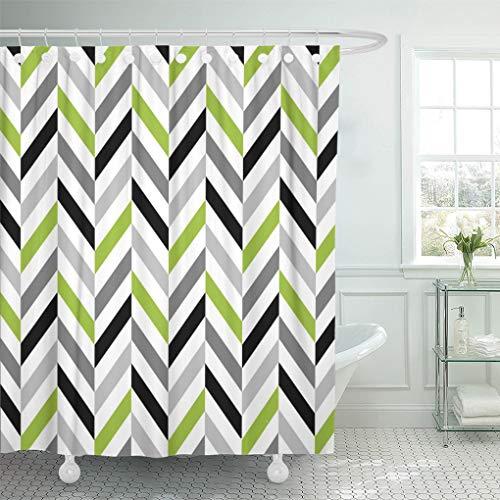 Semtomn Shower Curtain Pattern Modern Lime Green Gray Black Herringbone Geometric Grey 72