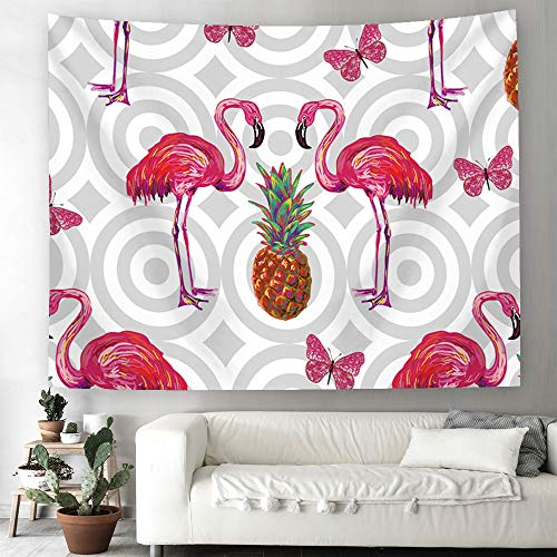 Whim-Wham Greater Flamingo Pineapple Home Décor Tapestry Supreme Pink Flamingo Gray Hippie Art Wall Decor Tapestry Hanging for Bedroom Living Room Dorm Picnic College. ()