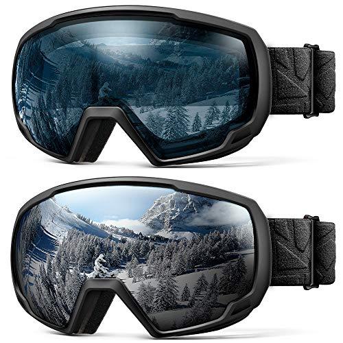 OutdoorMaster Kids OTG Ski Goggles - 2-Pack Over Glasses Kids Ski Goggles, 100% 400UV Protection - for Kids & Youth - Black/Grey (VLT 10%) + Black/L.Blue (VLT ()