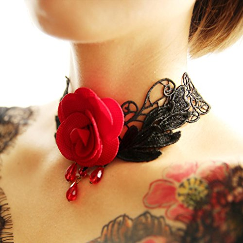 Red Transparent Necklace (Beuu Vintage Pearl Flower Collar Necklace Short Clavicle Lace (Red))