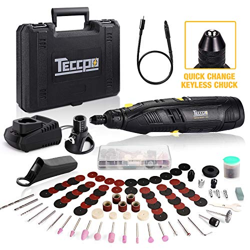 Cordless Rotary Tool, TECCPO 12V Rotary Tool Kit with 2.0Ah Lithium-ion Battery, 1-Hour Fast Charger, 6-Speeds Adjustable, Universal Keyless Chuck, 80 Accessories, Perfect Gift for DIY Crafts