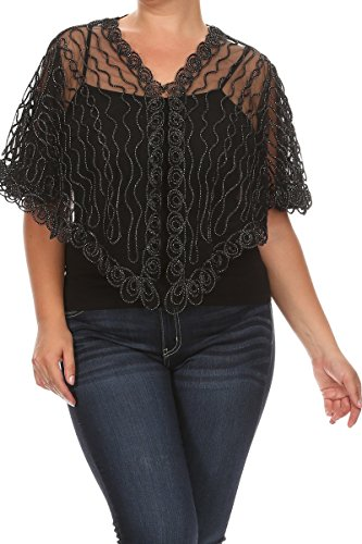 Pastel by Vivienne Women's Glitter Shrug Cape One Size Plus Black