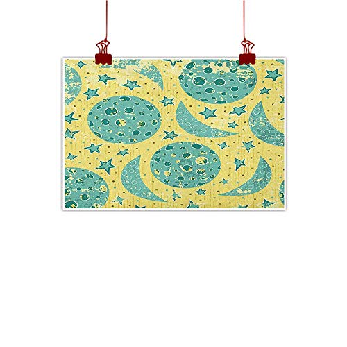 Contemporary Retro Palette - Sunset glow Fabric Cloth Rolled Moon,Grunge States of The Moon Stars Pattern Vintage Color Palette Retro Design, Yellow Turquoise Teal 48
