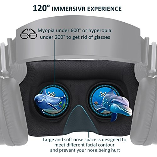 3D VR Headset With Remote Controller for 3D Movies & VR Games, Skin-Friendly Lightweight Comfortable Virtual Reality Headset with Stereo Headphone, Fit for 4.7''-6.2'' iPhone and Android Smartphones by EXCLEAD (Image #6)