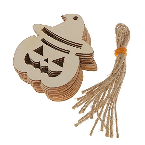 Wooden MDF Tags Pumpkin Face Shape Halloween Hanger Gift Tags Ornament Pack of 10]()