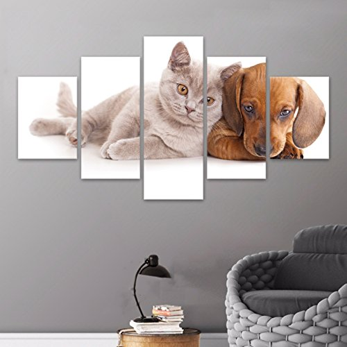 Poster 5 Pieces / 5 Pannel Wall Decor Animal Cat Painting Dog