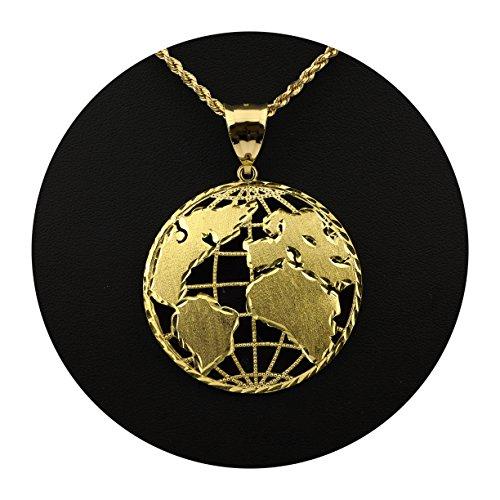 Yellow Gold Globe Charm (LoveBling 10K Yellow Gold World Map Globe Charm Pendant (2.20
