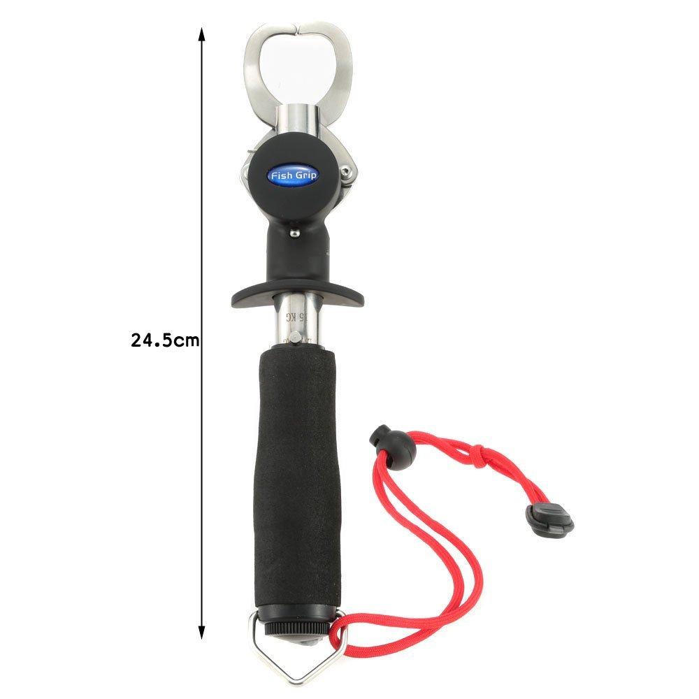 docooler Portable Fish Lip Grabber Pinza Grip artes de pesca pescado de acero inoxidable con peso escala regla