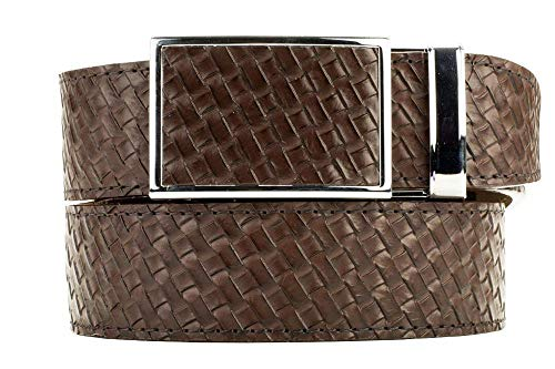 Nexbelt Go-in! Emboss Leather Basket Weave Brown Golf Belt with Adjustable Buckle Ratchet System Technology