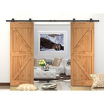 Amazon Double Sliding Barn Door Hardware Kit Top Mount Design
