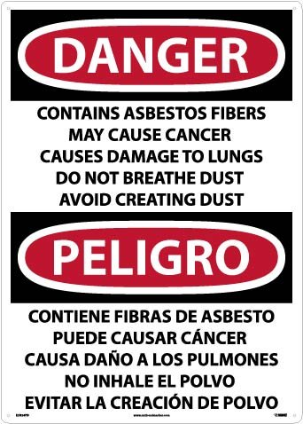 ESD24PD National Marker Label, Danger Contains Asbestos Fibers May Cause Cancer Causes Damage to Lungs Do Not Breathe Dust Avoid Creating Dust, 20 x 28, ps Vinyl