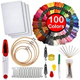 #10: Full Range of Embroidery Starter Kit,5 Pieces Bamboo Embroidery Hoops,100 Color Embroidery Threads,Cross Stitch Tool Kit