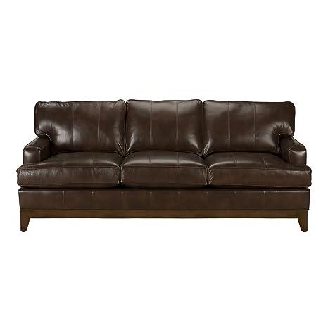 Amazon Com Ethan Allen Arcata Leather Sofa 87 Sofa Omni Brown