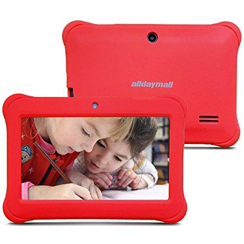 Alldaymall A88SK 7 Zoll Kinder Tablet PC Quad Core, Android 4.4 KitKat, 1GB RAM, 8GB NAND Flash mit Doppel Kamera und Wifi, Tablet für Kids mit Spezialangebot, Rot