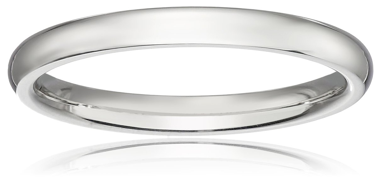 Classic Fit 10K White Gold Band, 2mm, Size 9
