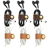 kilofly 6pc Genuine Leather Cord Management Keeper Snap Lock USB Cable Holder