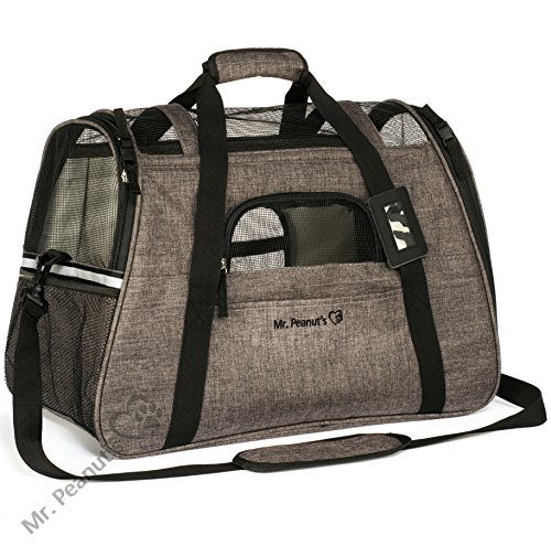 Mr. Peanut's Airline Approved Soft Sided Pet Carrier, Two-Tone Luxury Travel Tote with Fleece Bedding, New Design, Under Seat Compatability, Perfect for Cats and Small Dogs (Charcoal Ash)