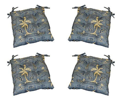 Set of 4 - Indoor / Outdoor Tommy Bahama Island Song - Blue Universal Tufted Seat Cushions with Ties for Dining Patio Chairs - Choose Size (18