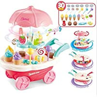 SR Toys Sweet Shopping Battery Operated Ice Cream Trolley Set for Kids with LED Lights and Music (Multicolor) -30 Piece