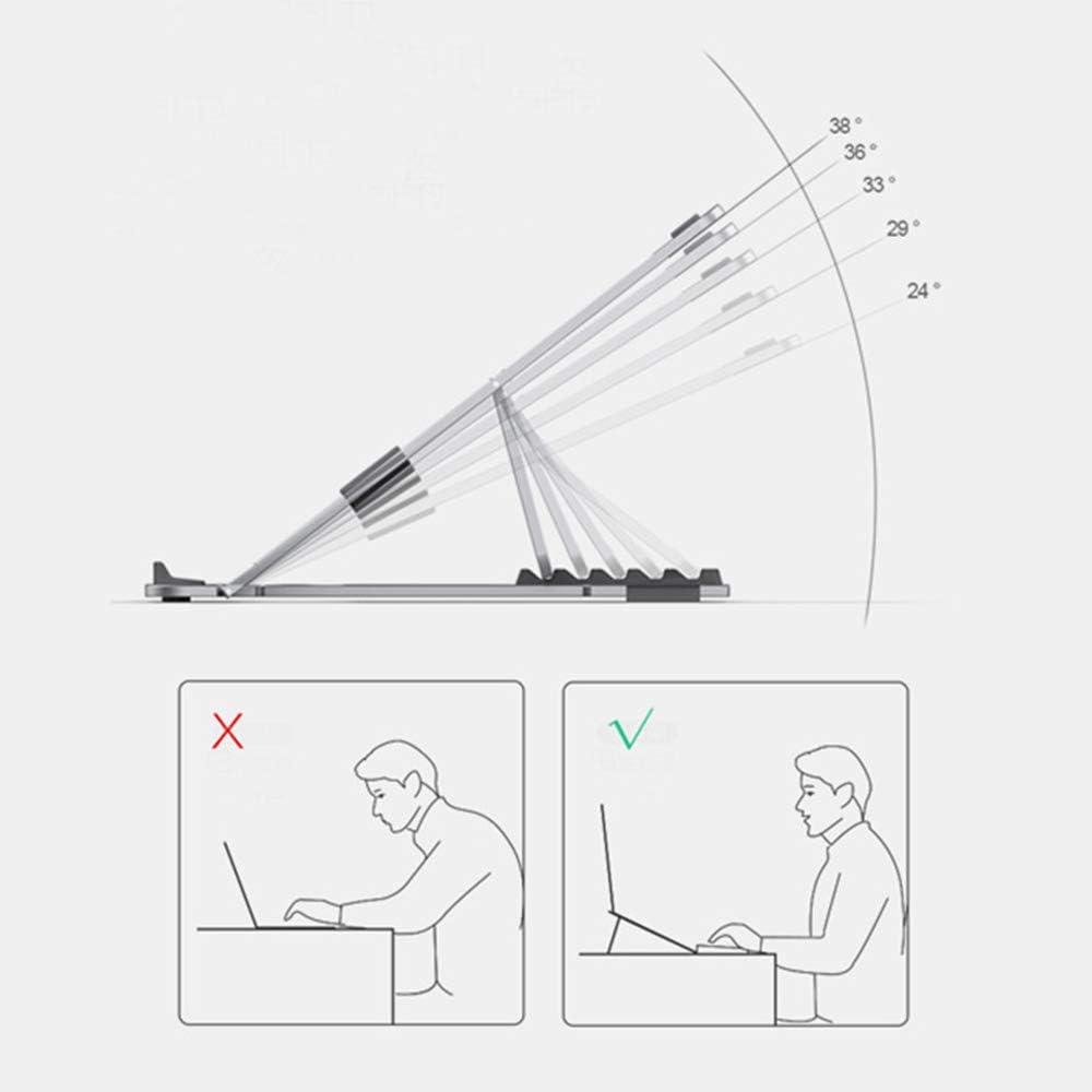 for Notebook Computer,Silver GOFEI Aluminum Laptop Stand Adjustable Ventilated Stand Holder Foldable Lightweight Ergonomic Laptop Riser