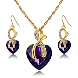 Long Way Austrian Crystal Fashion Heart Jewelry Sets Necklace Earrings Wedding Party Accessories