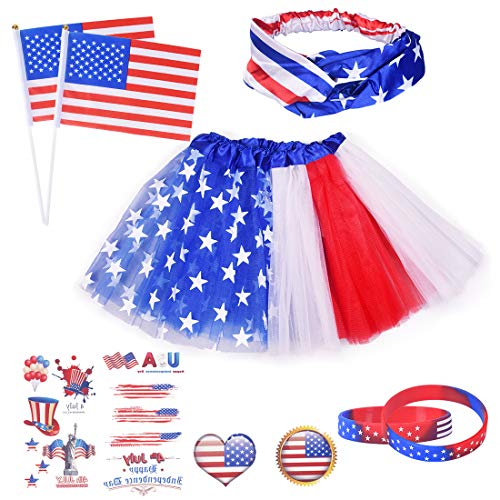 Garma Patriotic Costume 20Pcs Patriotic Design Accessories for 4th July for Women - American Flag Headband, Tutu Skirt, Patriotic Wristband, Handheld American Stick Flags, Patriotic Stickers]()