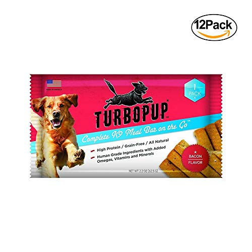 TurbopupAs Seen On Shark Tank Complete K9 Meal Replacement Bar In Bacon Flavor, 12 Bars | Best All-Natural, Human-Grade Dog Food Bars